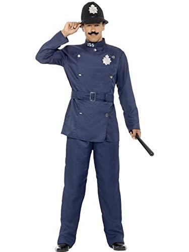 Luxuspiraten - Herren Männer Englischer Londoner Bobby Polizei Polizist Retro Kostüm mit Hose Jacke und Hut, perfekt für Karneval, Fasching und Fastnacht, L, Blau (Halloween-kostüm Polizist Mann)