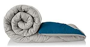 Style 7 Elegant Plain 250 GSM Microfiber Reversible Comforter Duvet (Single, Grey and Blue)