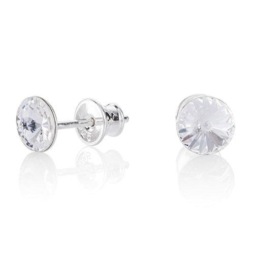 Lillymarie donne orecchini a perno argento trasparenti punto luce swarovski elements originali rotondi sacchetto per gioielli regali il compleanno delle