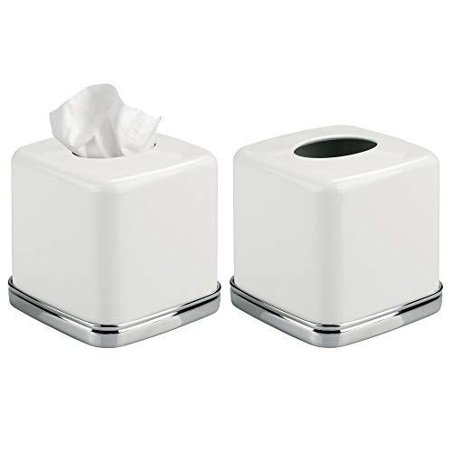Mdesign porta fazzoletti quadrato – pratico tissue box in acciaio per il bagno – porta salviette dal design moderno e elegante, senza base – colore: bianco - confezione da 2