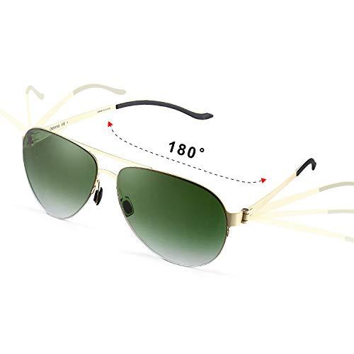 GONNA Retro Aviator Sonnenbrille Herren Damen UV400 Super Leicht und Klar, Rund Glas Metallischer Fassung Unisex-Modelle-Kristallgrün