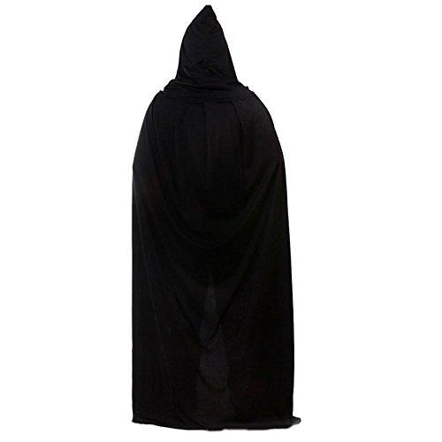 Halloween Soloo Bekleidung mit Kapuze Robe Umhang Henker Kutte Tod Mönch schwarz Ritter Cosplay Kostüm Hooded Cape (Kapuze Halloween Kostüme Henkers)