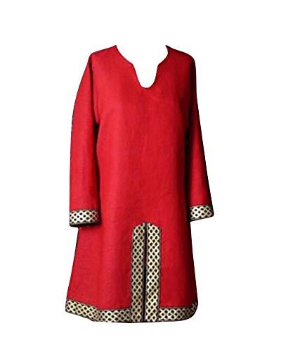 LiangZhu Tunica Medievale per Uomo Camicia Elegante Stile Cavaliere Costume Cosplay di Halloween Senza Cintura Rosso XL