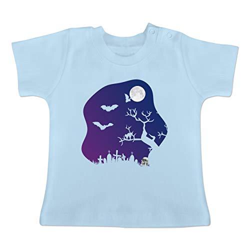 dhof gruselig Totenkopf Mond - 1-3 Monate - Babyblau - BZ02 - Baby T-Shirt Kurzarm ()