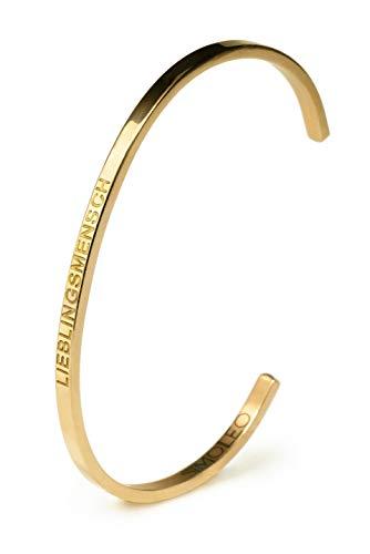 Simoleo Armreif - Unisex Armband mit Lieblingsmensch Gravur - Größenverstellbares Damenarmreif mit einzigartigem Design - Armschmuck in hochwertiger Geschenkbox (Gold)