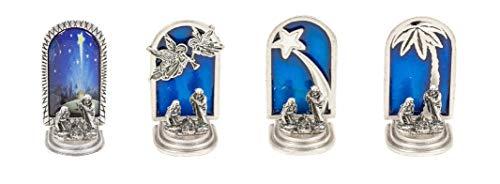 Sammlerkrippe - Silber vergoldet Miniatur-Krippe - SET 4 Stück: Engel, Kometenstern, Palme, Bild - Weihnachtsdekoration -