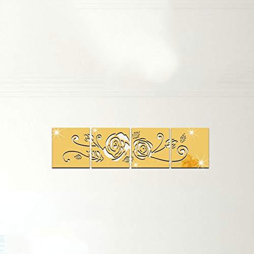 MASODHDFX 3D dekorative Spiegel Aufkleber, Blumen Wohnkultur Spiegel Aufkleber Aufkleber, Quadrat Ausgeschnitten Blume Wand Spiegel Aufkleber -