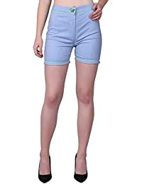 Tuk Tuks The Store Designer Sky Blue Colour Designed Shorts for Women's/Girls