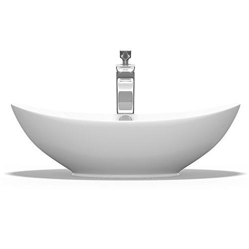 Mai & mai lavabo da appoggio, lavandino bagno 59x38x19cm brüssel818 in ceramica nano rivestimenti inclusi bianca