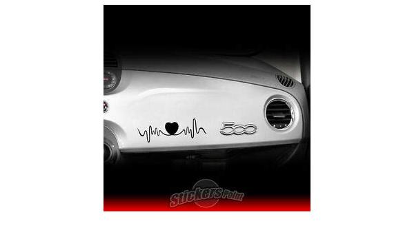 Supersticki Herzschlag Heartbeat Herz Fiat 500 25cm Aufkleber Autoaufkleber Sticker Decal Wandtattoo Aus Hochleistungsfolie Uv Waschanlagenfest Auto
