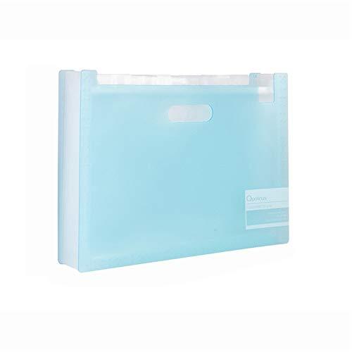 File Folder Kunststoff-Ordner Organizer Portable Akkordeon Folders Geeignet for Schüler-Test Paper Clips Business Information Bücher A4-Größe Bürobedarf Speicher ( Farbe : Blau , Größe : 5 pieces )
