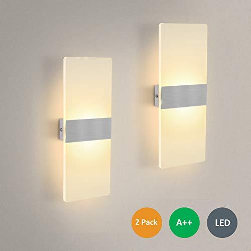 2 Stücke Wandleuchte LED Innen 12W Wandlampe Acryl Wandbeleuchtung Modern für Wohnzimmer Schlafzimmer Treppenhaus Flur | Warmweiß (Handschuhe, Die Leuchten)
