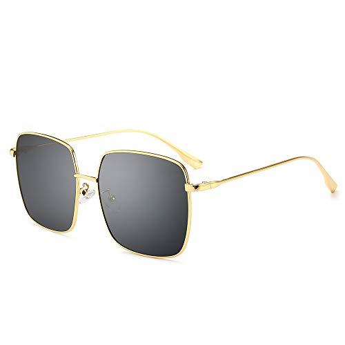 AMZTM Mode Sonnenbrillen für Damen Polarisierte UV Schutz Linse Groß Quadratischer Rahmen Brillen zum Fahren Reise Blendschutz HD Vision (Gold Rahmen Graue Linse)