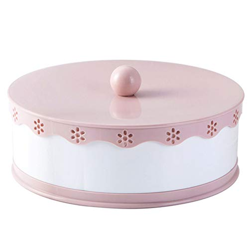 lujiaoshout 5 Grids Snack Serving Tray Double-Layers Candy Box with Lid Hollow Candy Dish Wedding Table Decoration for Dried Fruits Candy Snacks Pink