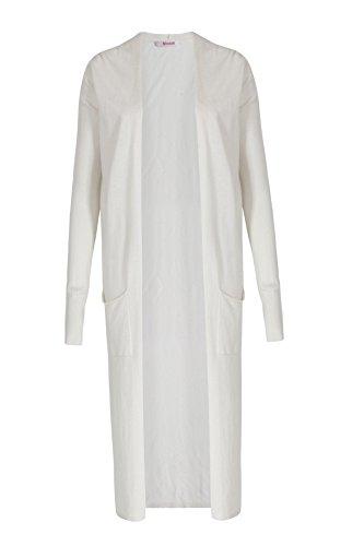 bloom Long-Cardigan im Seiden-Viskose-Kaschmir Mix 40, Weiß (Creme Kaschmir-cardigan)