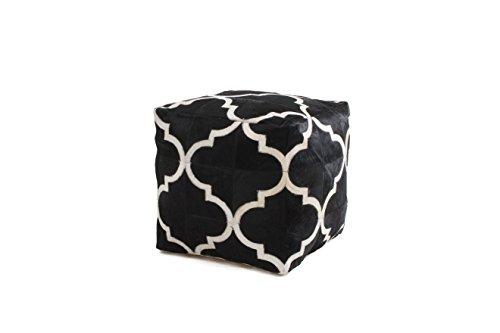 Hocker Sitz-Würfel Patschwork Design Lavish Pouf 310 Bean Bag Muster Leder 45x45 cm Schwarz/Sitzsack günstig online kaufen -