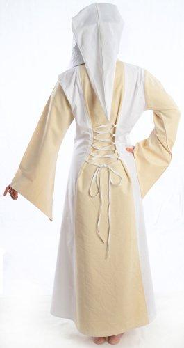 HEMAD Damen Mittelalter Kleid zum Schnüren mit Gugel weiß rot grün blau braun schwarz S - XL Weiß