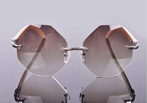 LKVNHP Fashion Stilvolle Rimelss Custome Oversize Achteckige Linse Sonnenbrille Natur Weiß Sun Glass Männer3 Tage Custome Silber