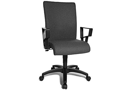 Home-Office Drehstuhl in grau, inkl. Armlehnen in schwarz, mit einer ergonomischen Rückenlehne mit Flachsitz und Wipp-Mechanik, Sitzbreite: ca. 47 cm thumbnail