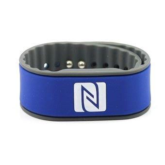 NFC Armband | NXP NTAG 216 | 924 Byte | blau/grau | verstellbar