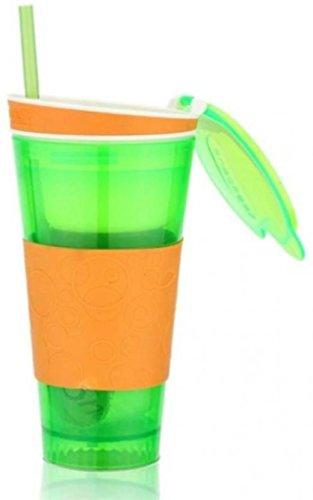 S.Blaze Amazing Green Colour 2 In 1 Snackeez Bottle / Juice Bottle / Protein Shaker / Sipper / Gym Bottle / Water Bottle / Good Quality Shaker Bottle For Both Men's / Women's / Boy's / Girl's 500 Ml Shaker, Sipper, Bottle. 4 Oz. Air Tight Snack Cup + 16 O