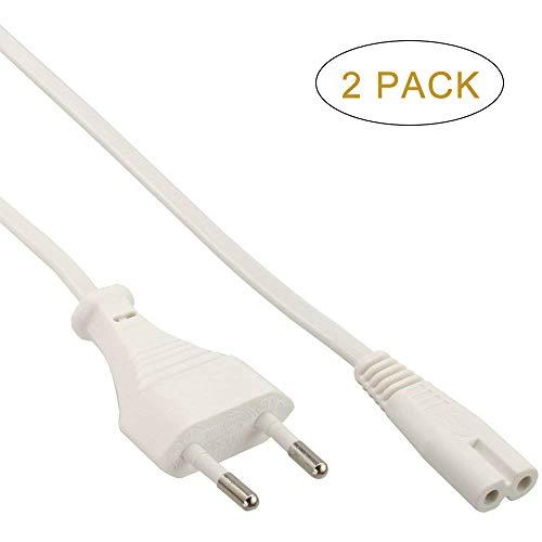 FSKE Netzkabel IEC C7 Weiß 2M Eurostecker nach Figure 8 Power Cable Stromkabel für Samsung LG Sony Philips TV, PS4, PS3, PC Monitore, Drucker (2 Stück) Sony-tv-pc