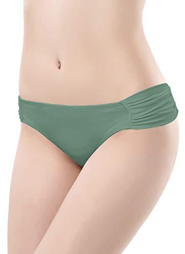 SHEKINI Damen Rüschen Bikinihose Wassersport Bikinislip Unifarben Gerafft Höschen Hipster (M, Olivgrün) (Hipster-höschen)