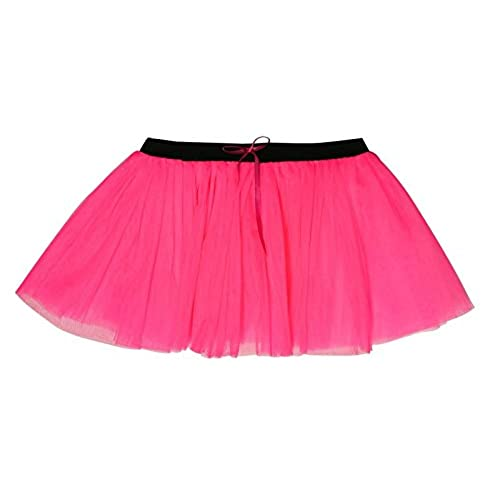 14 Inch Long 3 Layer Full Neon Pink Tutu Skirt