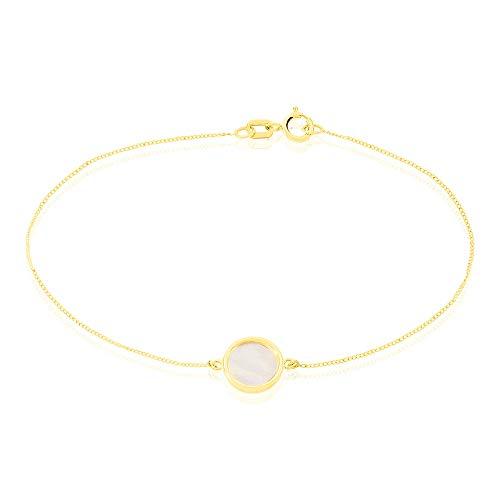Bracelet Chaîne'Nacre' - Nacre et Pastille - Or Jaune 9...