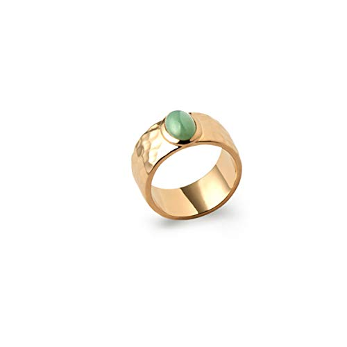Ring Jana - Damenschmuck - vergoldet mit einem grünen Stein - Unser Steinschmuck - Ringgröße 17 1/4 mm - Männer Ringe Aventurin Für