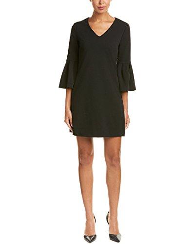 Donna Morgan Womens Bell-Sleeve V-Neck Shift Dress Black 6 V-neck Shift