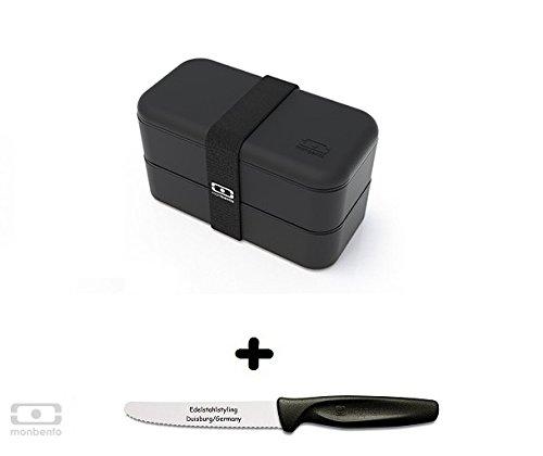 Monbento Original schwarz - Die Bento-Box + Edelstahlstyling Universalmesser GRATIS