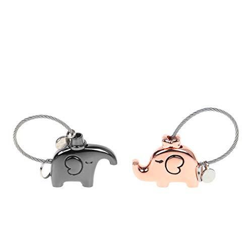 zhiwenCZW Mini Novedad Parejas de Elefantes Candado Candado Cerradura de Seguridad Sin...
