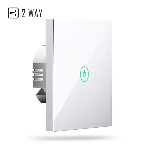 Interruttore Parete Intelligente Wifi Smart Pannello Touch LED Antiurto Elettrico, 2 Way 1 Gang, App Andriod e iOS Controllo Remoto, Compatibile con Amazon Alexa, Google Home e IFTTT, Meross MSS550L