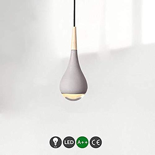 Lámpara de hormigón Lámpara LED colgante Lámpara de comedor Industrial Concreto Cemento Gris Diseño redondo Lámpara de suspensión Lámpara de mesa de comedor Lámpara de suspensión ajustable en altura
