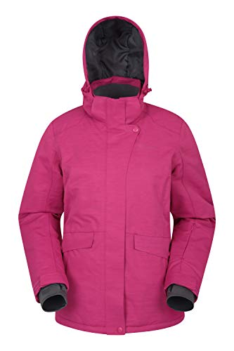 Mountain Warehouse Strukturierte Snowfall-Skijacke für Damen - isolierte Damenjacke, wasserfeste Winterjacke, warm, atmungsaktiv, Schneerock - Skifahren, Snowboarden Rosa DE 34 (EU 36)