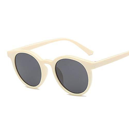 Taiyangcheng Vintage Sonnenbrille Frauen Cat Eye Runde Sonnenbrille Retro Kleine Rote Damen Sonnenbrille,Beige Grau