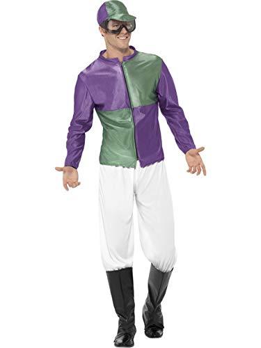 Luxuspiraten - Herren Männer grün lila Rennreiter Jockey Kostüm mit Oberteil, Hose, Stiefelüberziehern, Hut & Brille, perfekt für Karneval, Fasching und Fastnacht, M, Lila