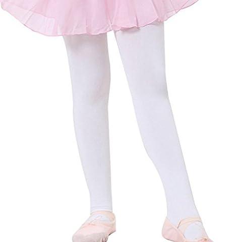 Happy Cherry – Collants de Danse Pour Filles Enfants – Ballet avec Pied – Blanc – Taille M (5 - 7 ans)