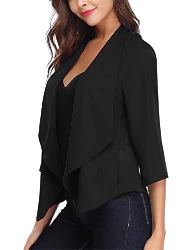 Gilet Court Femme Blazer Boléro Cardigan Basic en Mousseline Veste de Soiree Chic Gilet Noir Blanc Femme Manches 3/4 Châle Elégant, Noir * Qualité, XL