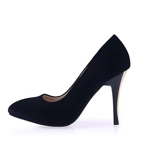 AllhqFashion Damen Stiletto Mattglasbirne Rein Ziehen Auf Spitz Schließen Zehe Pumps Schuhe Schwarz