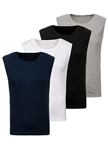 BOLF 4er Pack Herren Tank Top Shirt Unterhemd Muskel Rundhals Basic Casual Baumwollmischung Modellauswahl Unifarben JUST Play C3066 M [3C3] (Muskel-hemd)