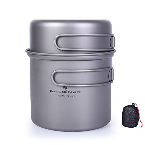 b2f2b962f1 iBasingo - Juego de 2 cuencos de titanio con mango plegable para picnic al  aire libre