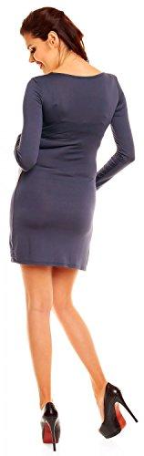 Zeta Ville - maternité robe de grossesse à taille froncée - femme - 931c Bleu Gris