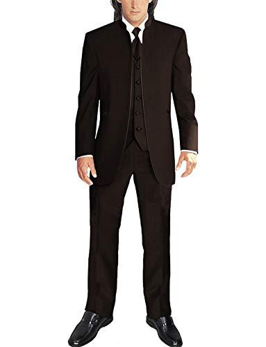 FRANK Herren Anzug im chinesischen Stil Stehkragen 3 Stück Hochzeitsanzug