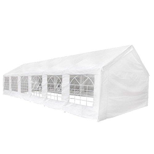 vidaXL Tienda de Fiesta de Jardín con Ventanas Lona de PE Blanca 12x6 m Carpa