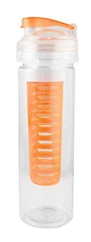 Emartbuy Obst Infuser Kunststoff Wasser Trinkflasche Mit Extra-Langem Infuser Für Maximales Flavour 700ml Auslaufsicher BPA-Frei Sportflasche - Klar / Orange (Klar Infuser Trinkflasche)
