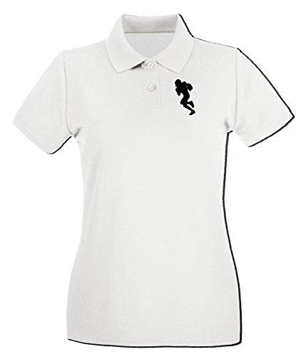 T-Shirtshock - Polo pour femme WC1018 American Football Player 4 Blanc