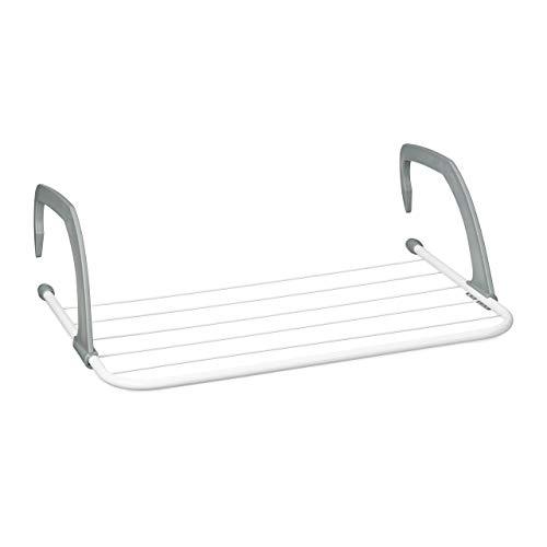 Relaxdays Hängetrockner, Wäschetrockner zum hängen für Heizkörper u. Balkon, klein, Wäschehalter, 3m Trockenlänge, weiß