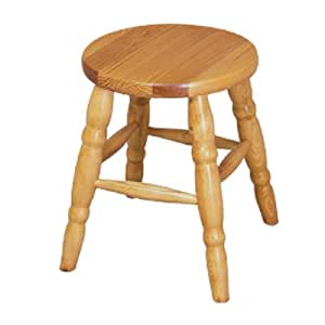 Wooden Stool Natural Solid Pine Round 33 Cm Varnished